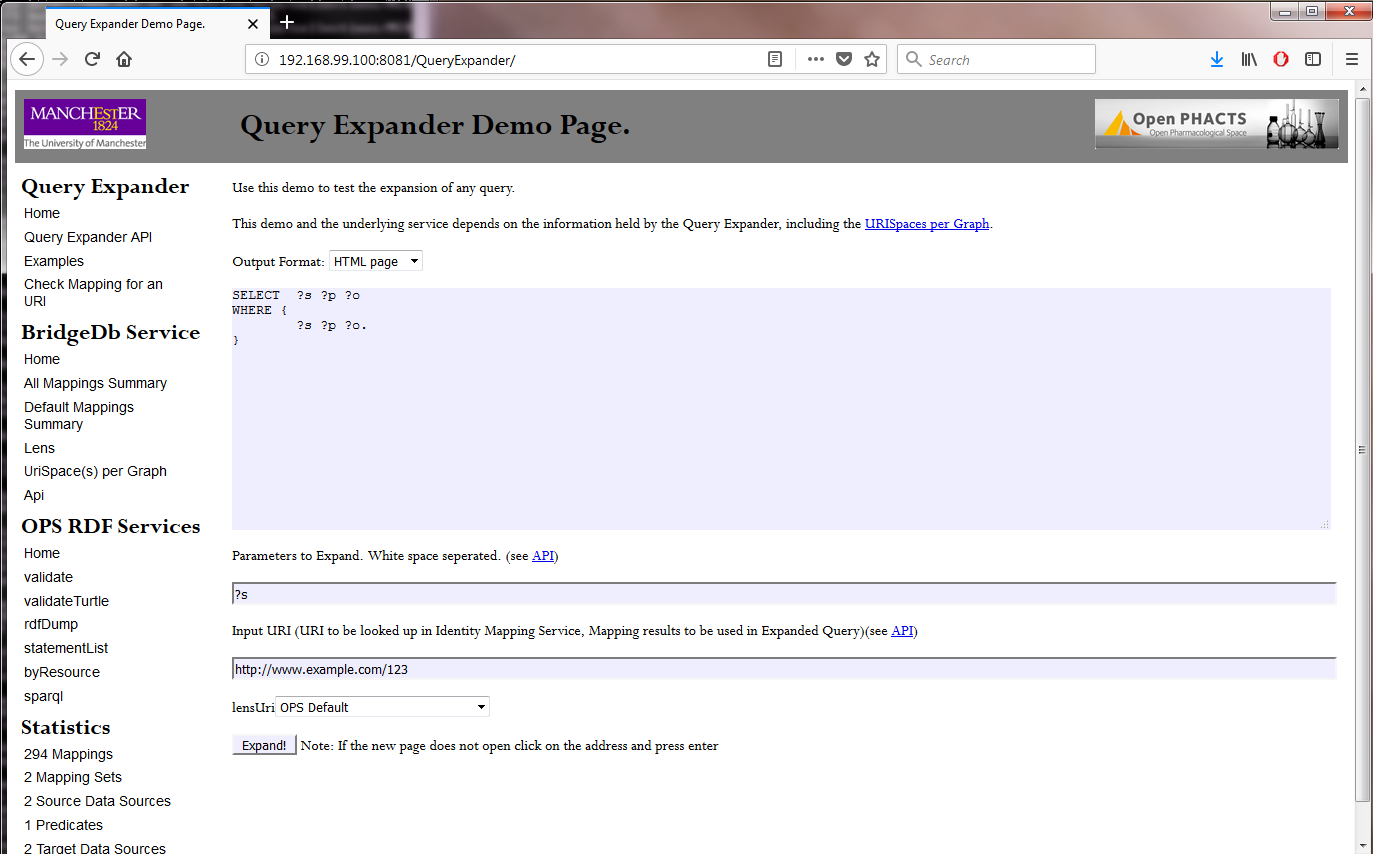 Screenshot of the BridgeDb IMS landing page